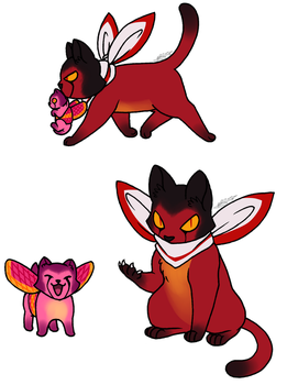 New Catformers Starscream and Rubywing by KingRebecca