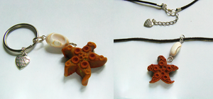 Beachy Starfish and Shell Necklace and Keychain by Wind-UpLadybug