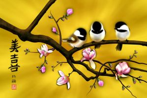 Chickadees on blooming Magnolia by Spirit-Knight