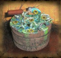 Icky Worm Eyeball Bucket by grimdeva