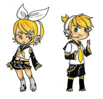 rin and len stickers by singingcatartist12