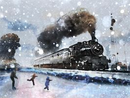winter train by OverOneHundred
