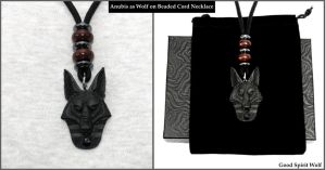 Anubis As Wolf on Beaded Cord Necklace by GoodSpiritWolf