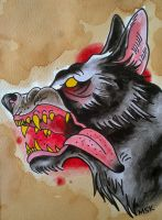 Traditional tattoo ' Wolf ' by Psychoead