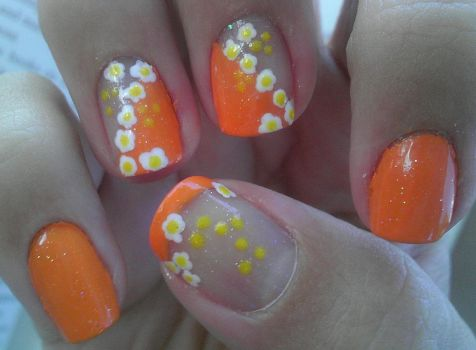 Floral Nail Art by wolfgirl4716