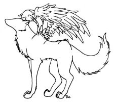 Winged Wolf Lineart by trisomy