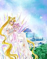 Serenity and chibiusa in Tokyo of crystal by zelldinchit
