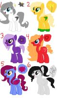 MLP flower ponies adoptables by FallenTheWolf