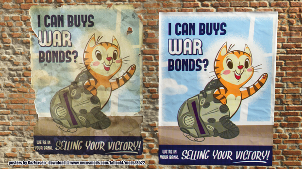 Fallout War Bond LOL Cat Poster by KazFoxsen