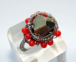 Pyrite and Coral wired ring by CrysallisCreations