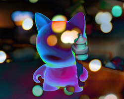 Psychedelic Kitty by WeaselTea