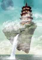 Flying pagoda by Adamanska