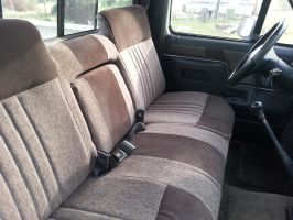 1987 ford bench seat leather and suede 01 by knightcoachworks