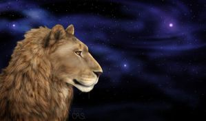 Grateful Lion - digital painting by Crazdude