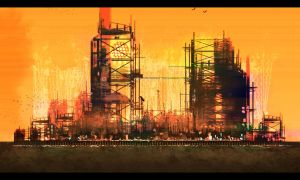 Oil Rig City by CrisisOmega