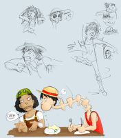 Monkey D. Luffy Sketches by chatroomfreak