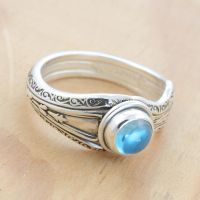 Spoon Ring w Mirror-y Blue Topaz by metalsmitten