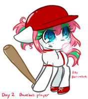 Filly Blossomforth Baseball Player by BunniniArt