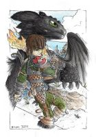 Hiccup and Toothless - Defenders of Berk by monkeypoke