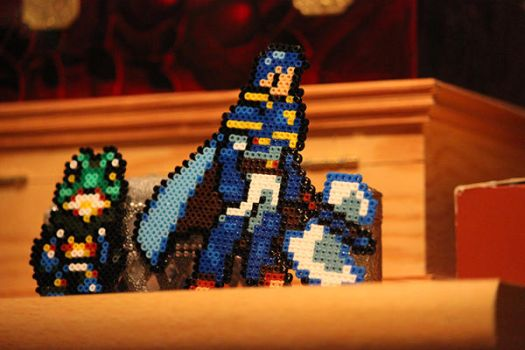 Perlers Hector et frog by Creamia
