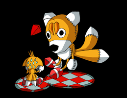 Tails vs. Tails doll by Messengerrobo