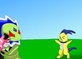 Plantalienmon protects Timidivamon from DxDoggymon by HeroHeart001