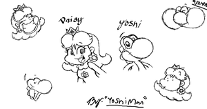 Yoshi and Daisy tablet sketches by YoshiMan1118