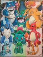 Starter Pokemon - canvas painting (FINISHED) by Jell--O