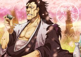 Zaraki Kenpachi - Glass of Sake under the Sakura - by MiharuSokushi