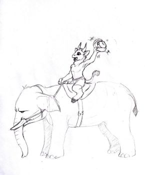 Sketch Request - Elephant Cowboy by Jianre-M