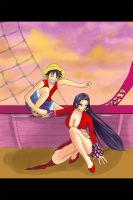 Luffy and Hancock by deeyosa
