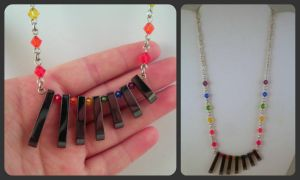 Rainbow and Hematite Fan Necklace by JanecShannon