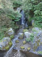 Waterfall in Japanese Garden by Lillagon