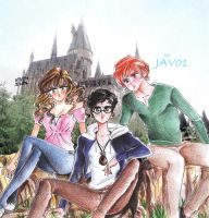 Harry , Ron and Hermione in hogwarts by zelldinchit