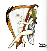 Elf harpist by Kratos-YMVS