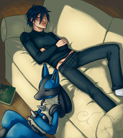 Nap Time - Riley and Lucario by BrainDeadMareep