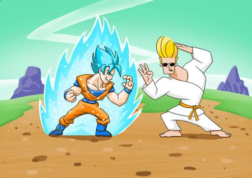 Goku vs Johnny Bravo - This wont end well! by JustGeoffsArt