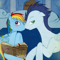 Soarin and Rainbow Dash in their bedroom by tinuleaf