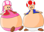 Toadette and Toad bloated by JuacoProductionsArts