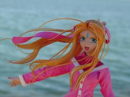 Belldandy Face + Pink Ribbon by ArtyAMG