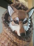 Red Wolf mask being worn by merimask