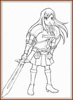 *Erza Scarlet full body (Line Art)* by AniMusision
