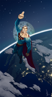 Superman into the space by Schoyhan