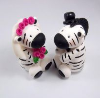 Zebras Wedding Cake Topper by HeartshapedCreations