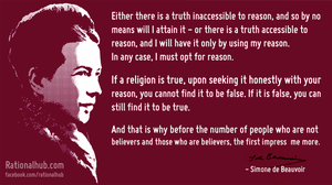 Simone de Beauvoir on belief and reason.. by rationalhub