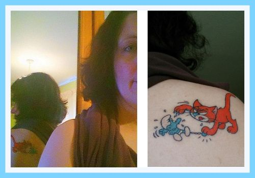 Azrael and Smurf Tattoo by UncleGargy