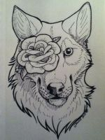 Wolf and Rose Tattoo by WYNTERFANG