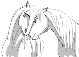 Horses love lineart - ms paint by Aniutqa2