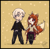 Spice and Wolf Chibis by Frog-of-Rock