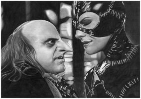 Catwoman and Penquin by donchild